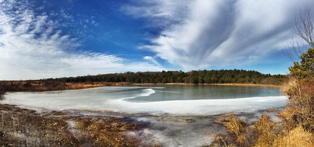 partially frozen lake