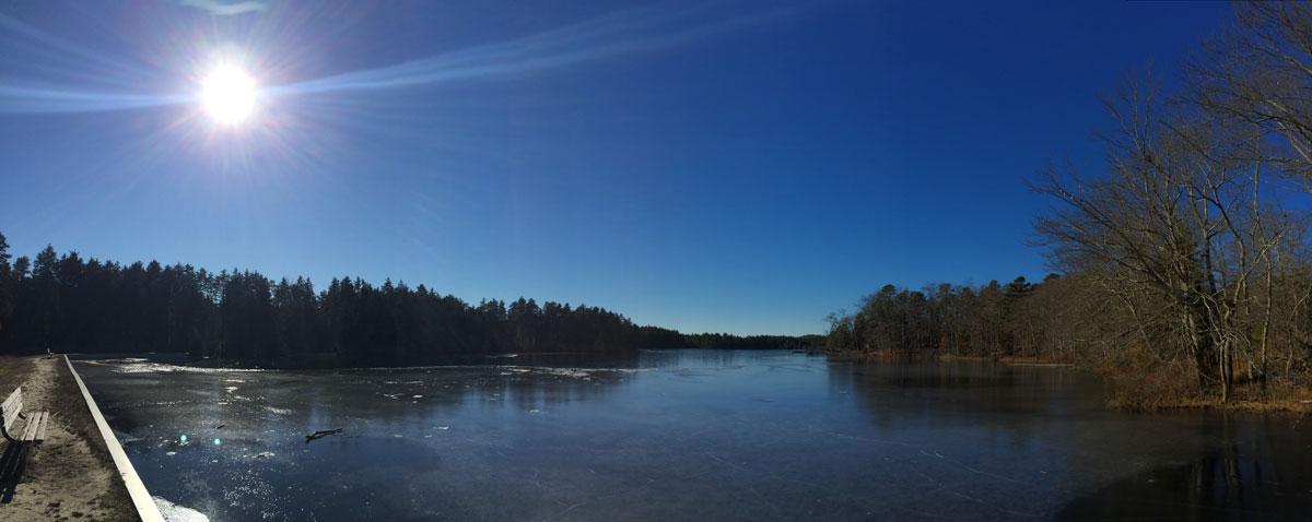 a partially frozen lake