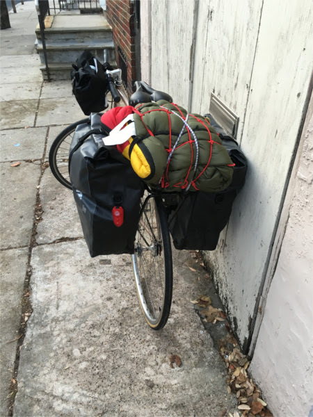 my bike packed for a camp trip