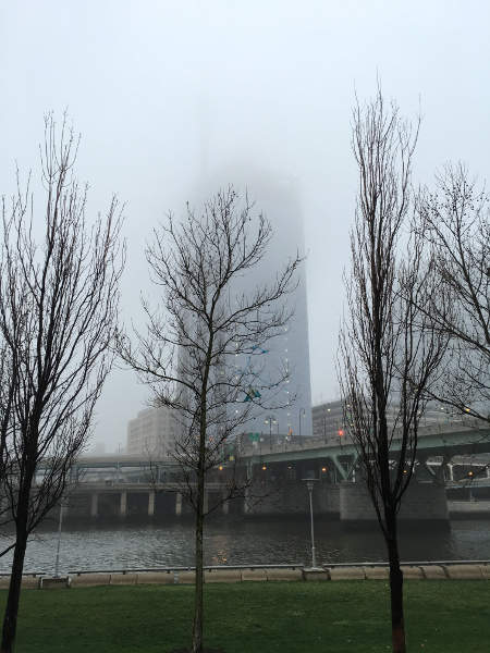 a foggy building in philadelphia