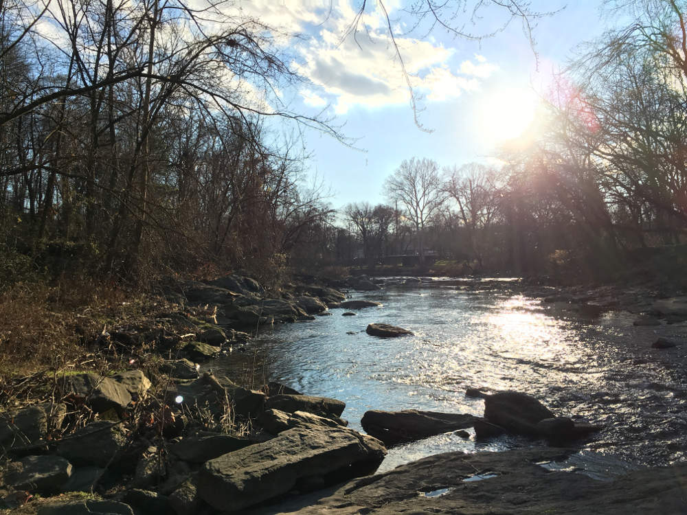 the sun shining on a creek